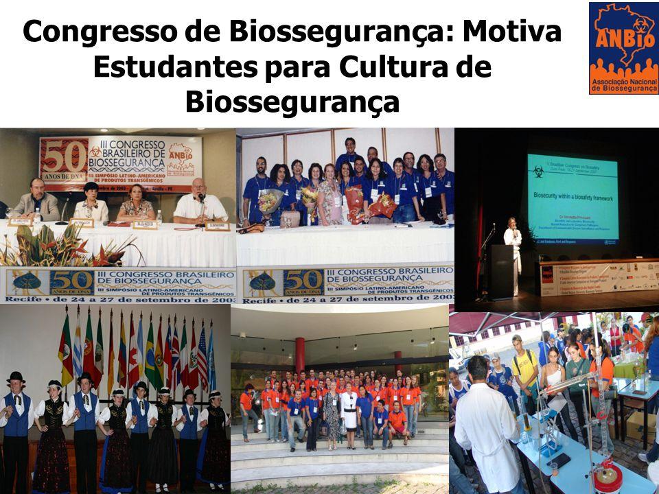 Congresso de Biossegurança: Motiva Estudantes para Cultura de Biossegurança
