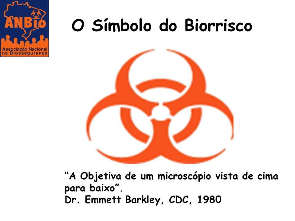 O Símbolo do Biorrisco A Objetiva de um microscópio vista de cima para baixo .