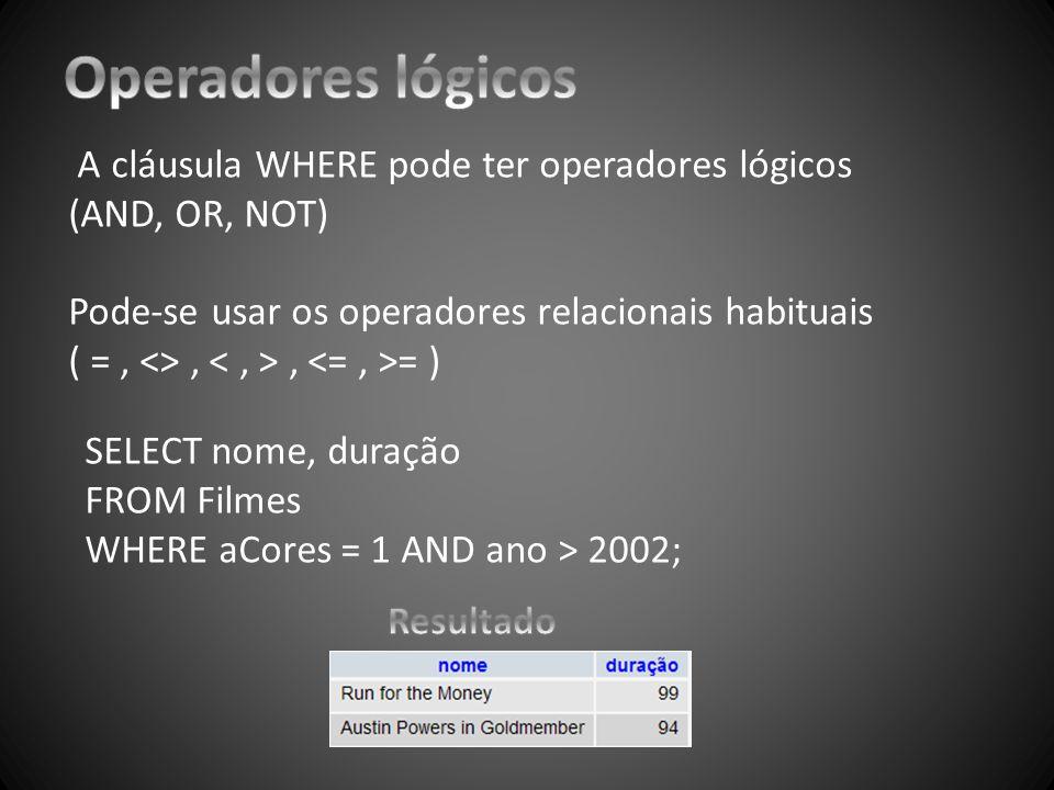 Operadores lógicos A cláusula WHERE pode ter operadores lógicos (AND, OR, NOT) Pode-se usar os operadores relacionais habituais.
