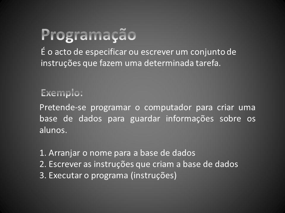 Programação É o acto de especificar ou escrever um conjunto de instruções que fazem uma determinada tarefa.