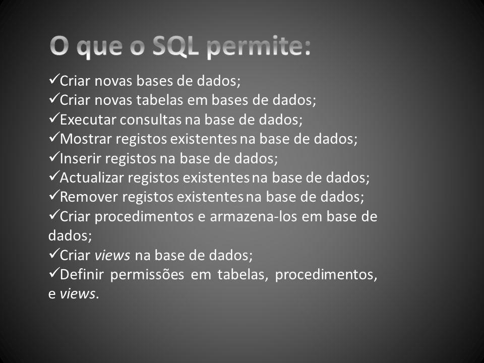 O que o SQL permite: Criar novas bases de dados;