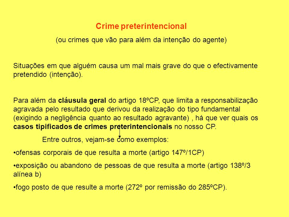 Crime preterintencional