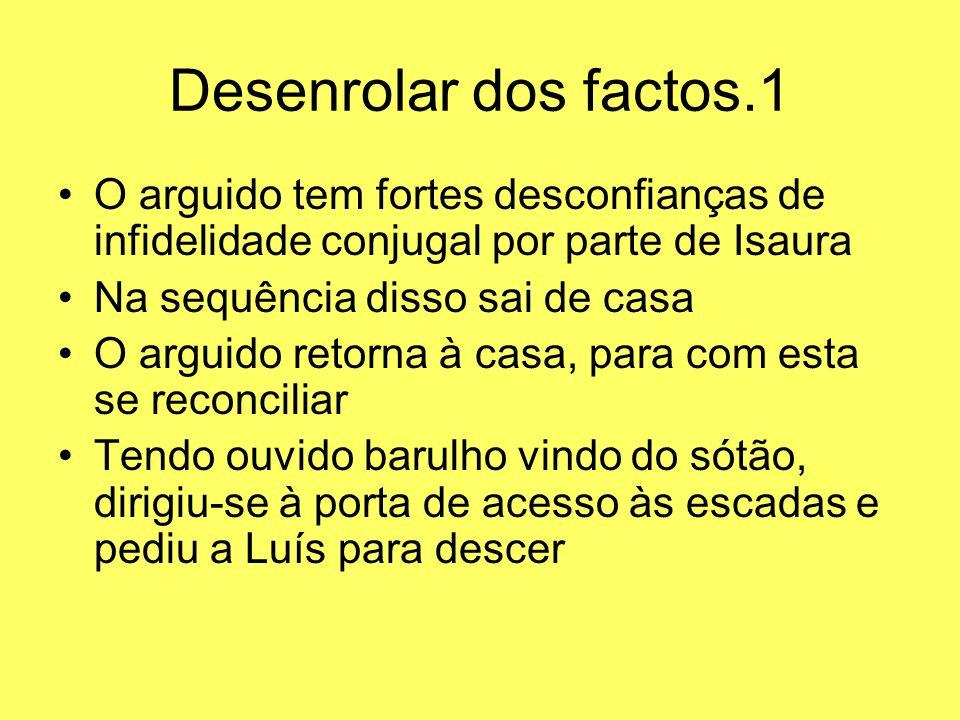 Desenrolar dos factos.1 O arguido tem fortes desconfianças de infidelidade conjugal por parte de Isaura.