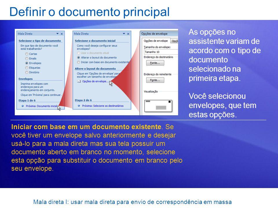 Definir o documento principal
