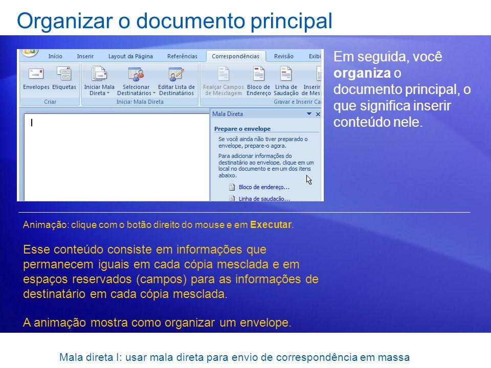 Organizar o documento principal