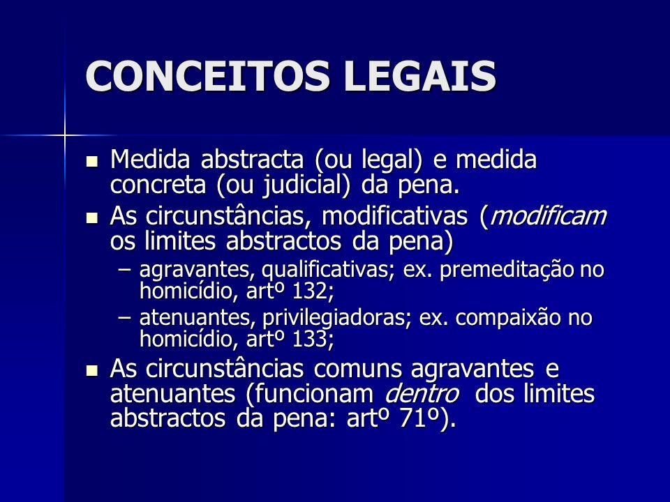 CONCEITOS LEGAIS Medida abstracta (ou legal) e medida concreta (ou judicial) da pena.