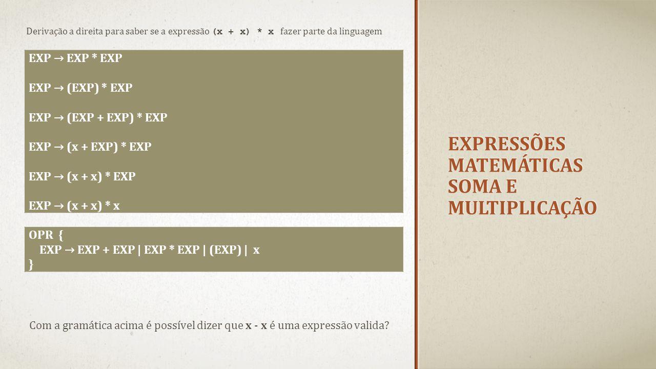 Expressões matemáticas soma e multiplicação