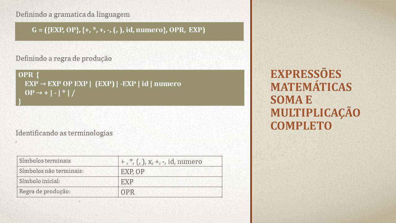 Expressões matemáticas soma e multiplicação completo