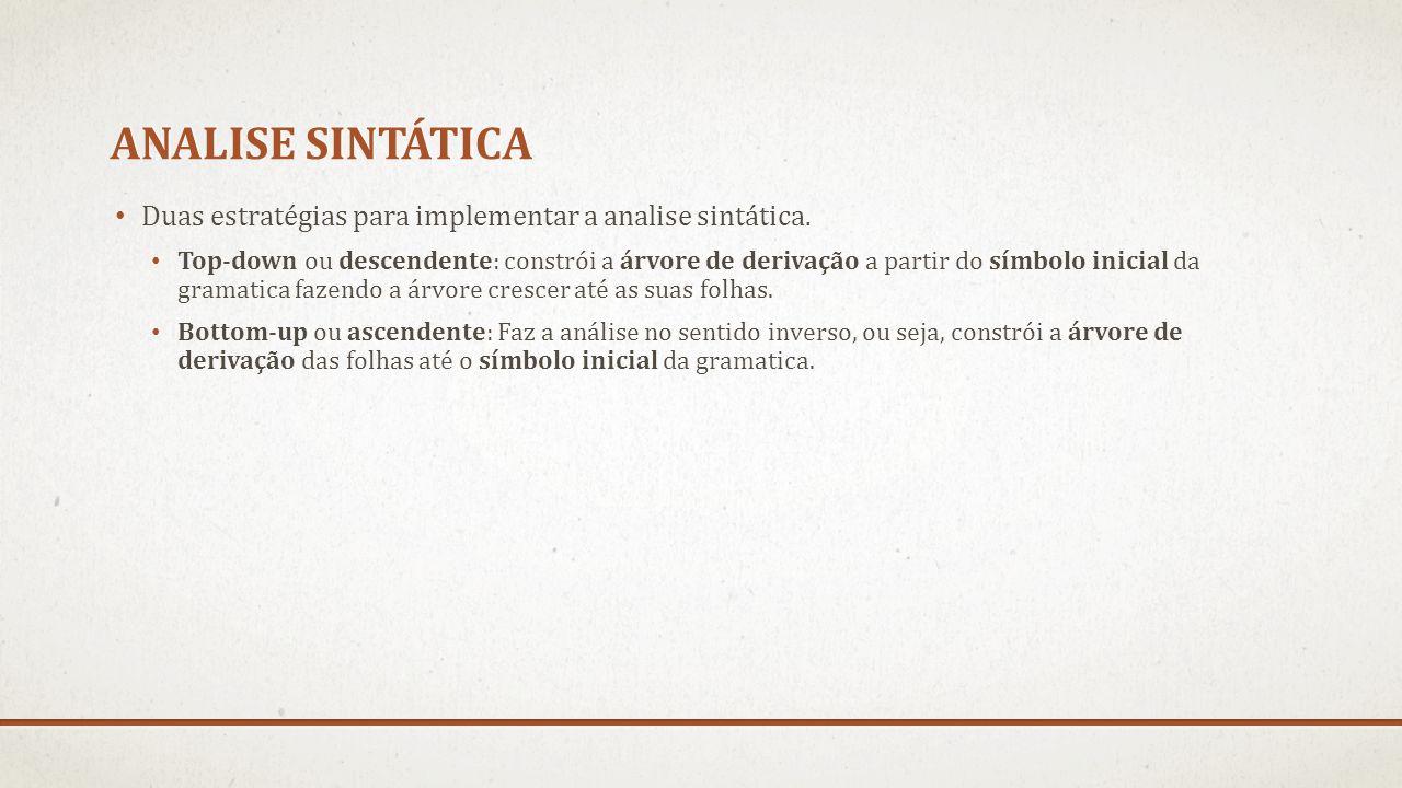 Analise sintática Duas estratégias para implementar a analise sintática.