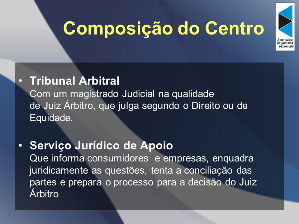 Composição do Centro Tribunal Arbitral Com um magistrado Judicial na qualidade de Juiz Árbitro, que julga segundo o Direito ou de Equidade.