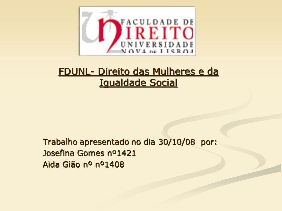 FDUNL- Direito das Mulheres e da Igualdade Social
