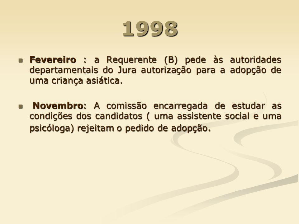 1998Fevereiro : a Requerente (B) pede às autoridades departamentais do Jura autorização para a adopção de uma criança asiática.
