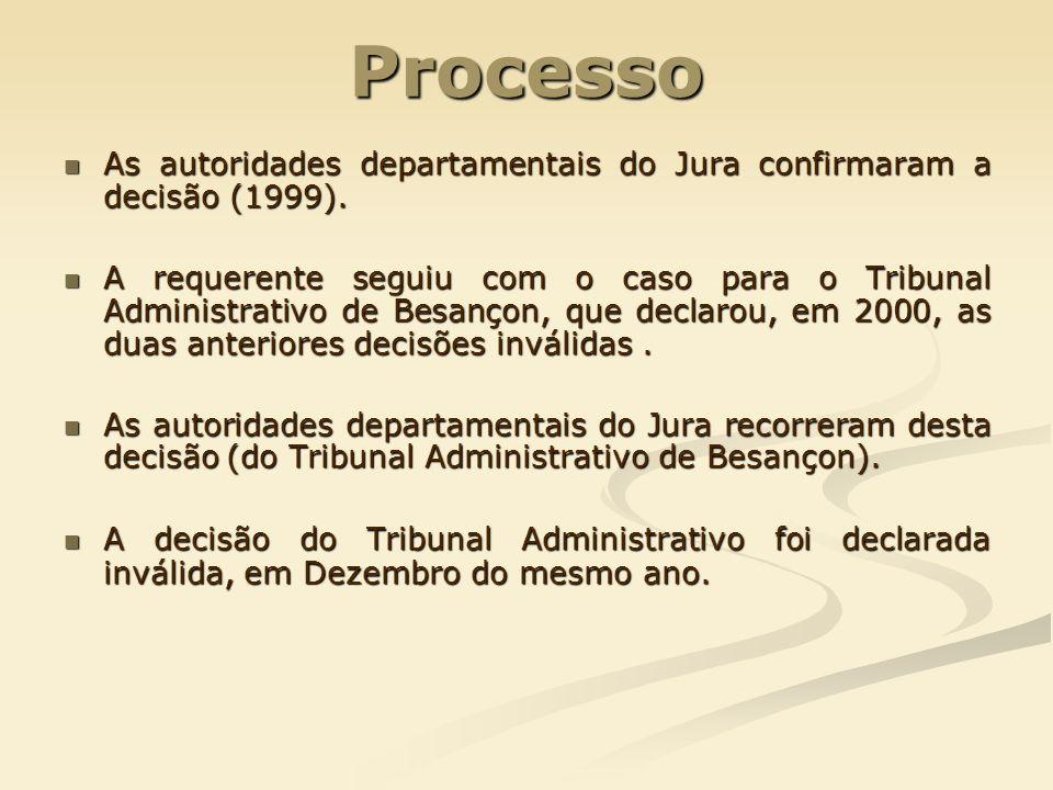 Processo As autoridades departamentais do Jura confirmaram a decisão (1999).