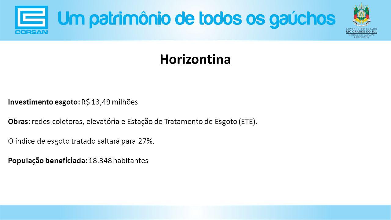 Horizontina Investimento esgoto: R$ 13,49 milhões