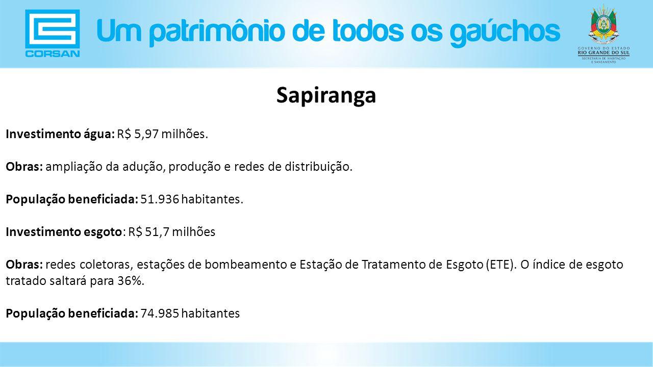 Sapiranga Investimento água: R$ 5,97 milhões.