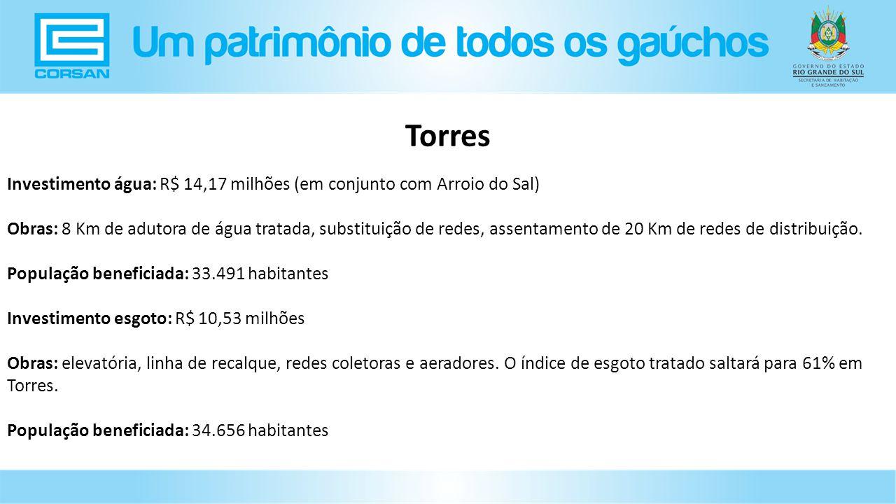 Torres Investimento água: R$ 14,17 milhões (em conjunto com Arroio do Sal)