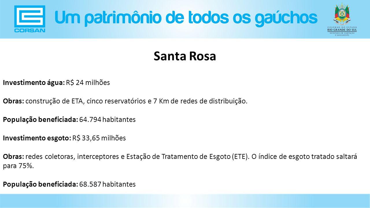 Santa Rosa Investimento água: R$ 24 milhões