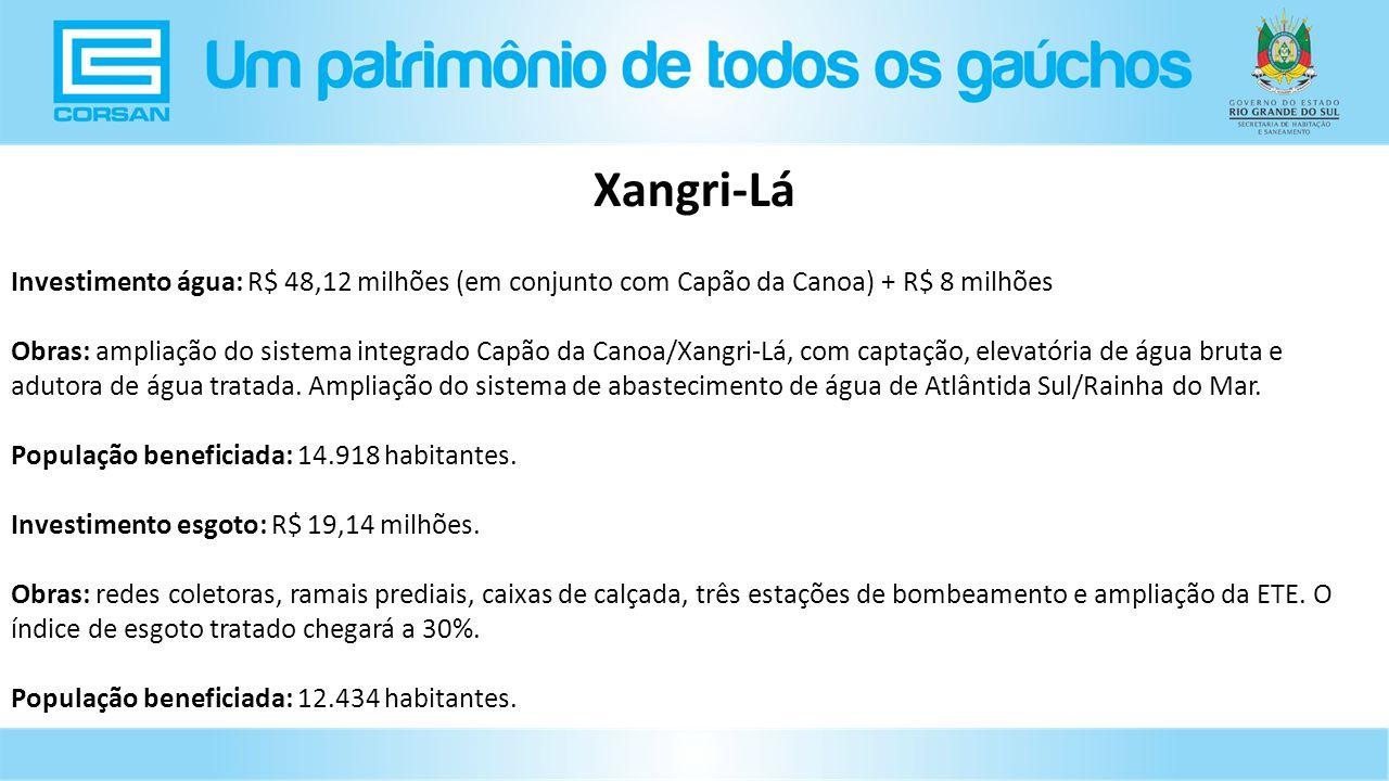 Xangri-Lá Investimento água: R$ 48,12 milhões (em conjunto com Capão da Canoa) + R$ 8 milhões.