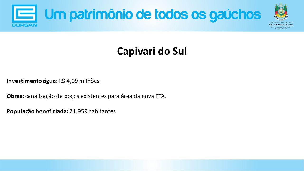 Capivari do Sul Investimento água: R$ 4,09 milhões