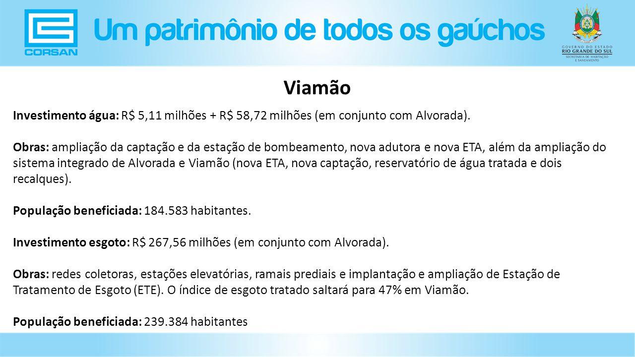 Viamão Investimento água: R$ 5,11 milhões + R$ 58,72 milhões (em conjunto com Alvorada).