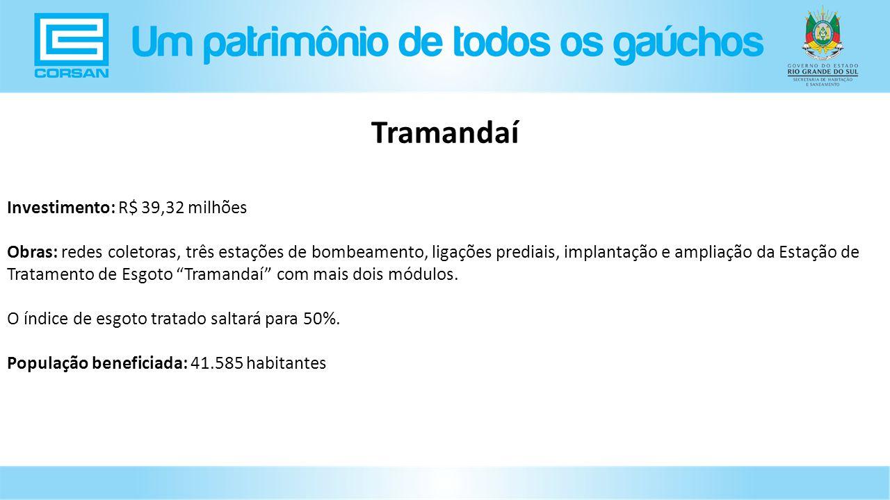 Tramandaí Investimento: R$ 39,32 milhões