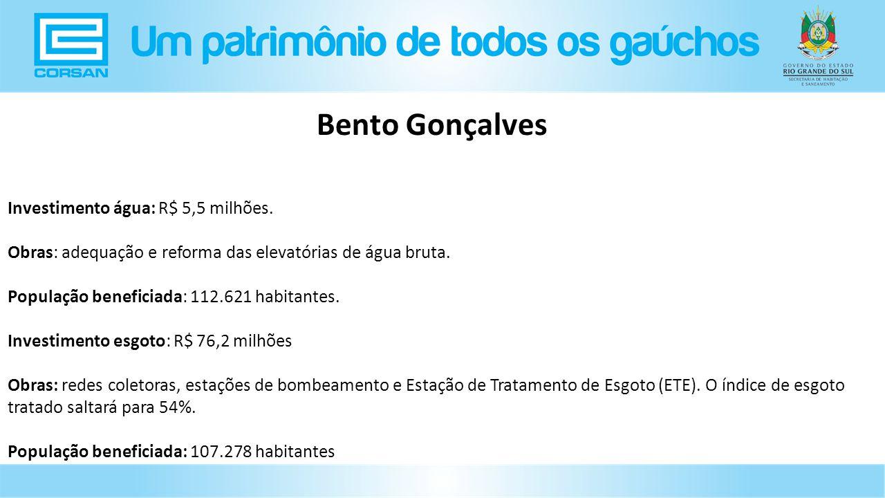 Bento Gonçalves Investimento água: R$ 5,5 milhões.