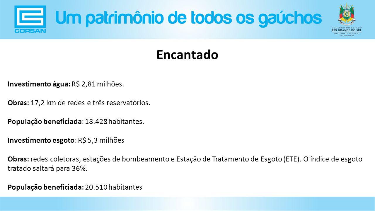 Encantado Investimento água: R$ 2,81 milhões.