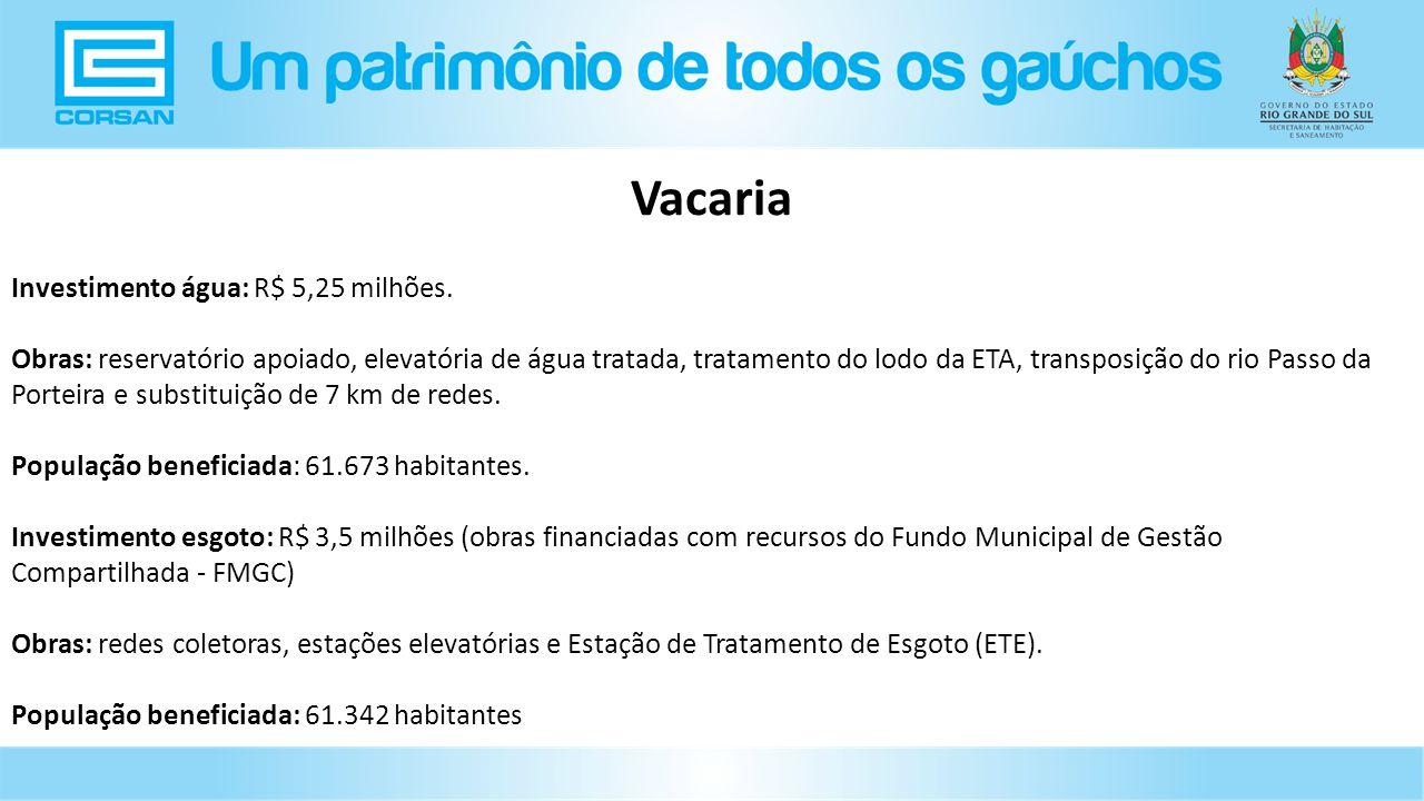 Vacaria Investimento água: R$ 5,25 milhões.