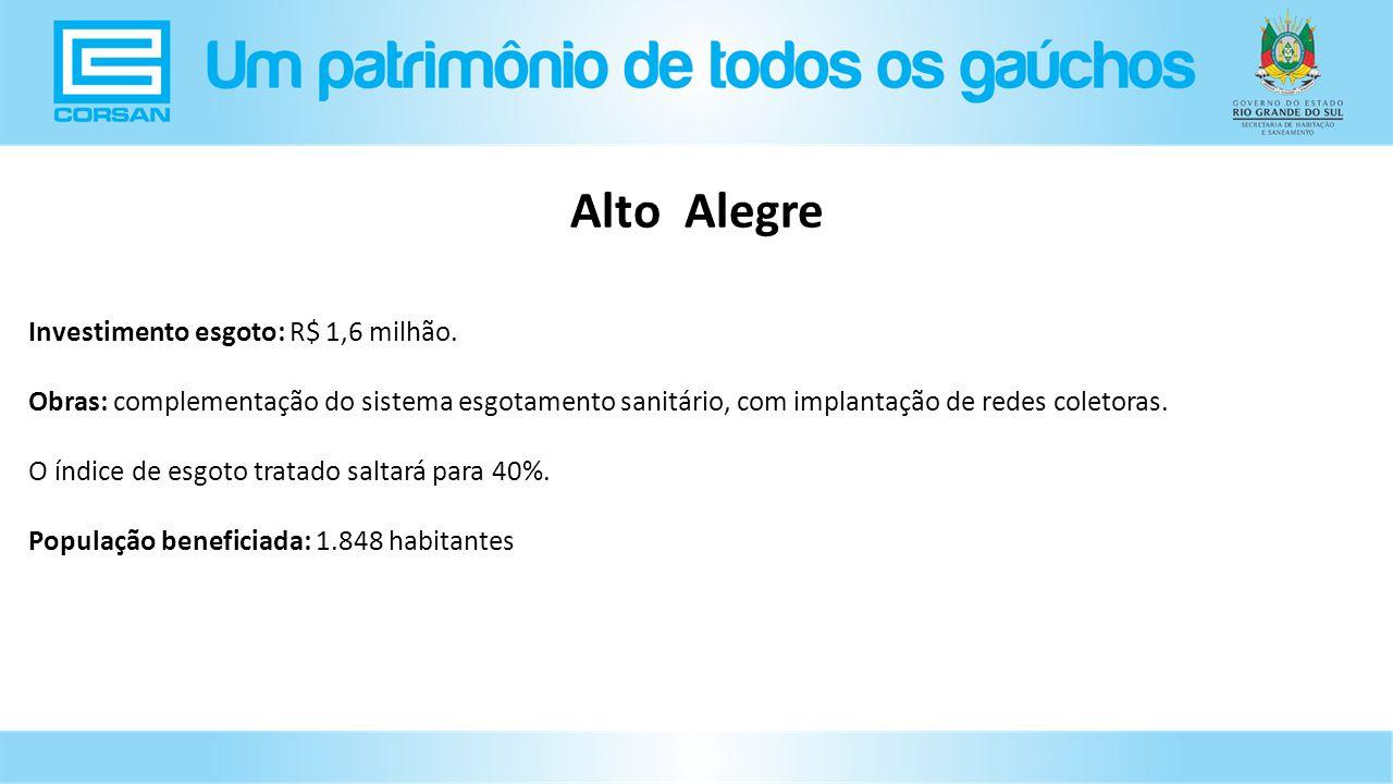 Alto Alegre Investimento esgoto: R$ 1,6 milhão.