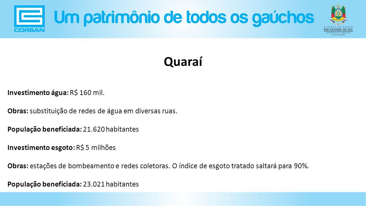 Quaraí Investimento água: R$ 160 mil.