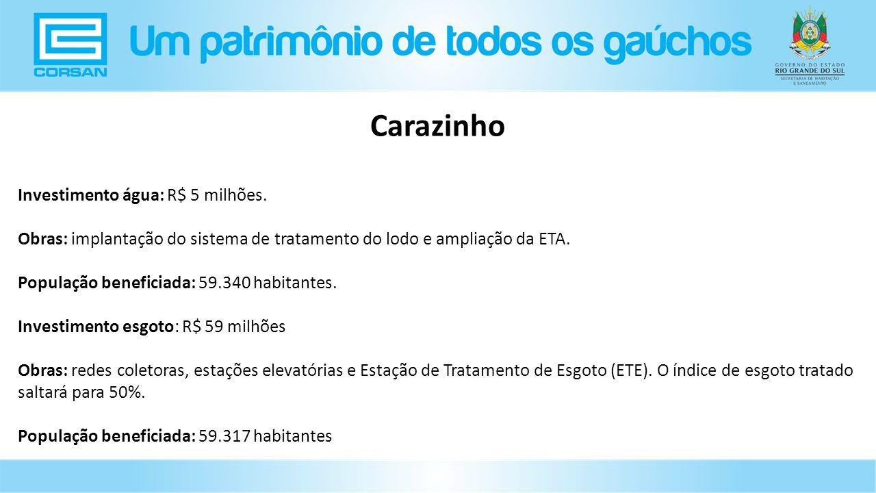 Carazinho Investimento água: R$ 5 milhões.
