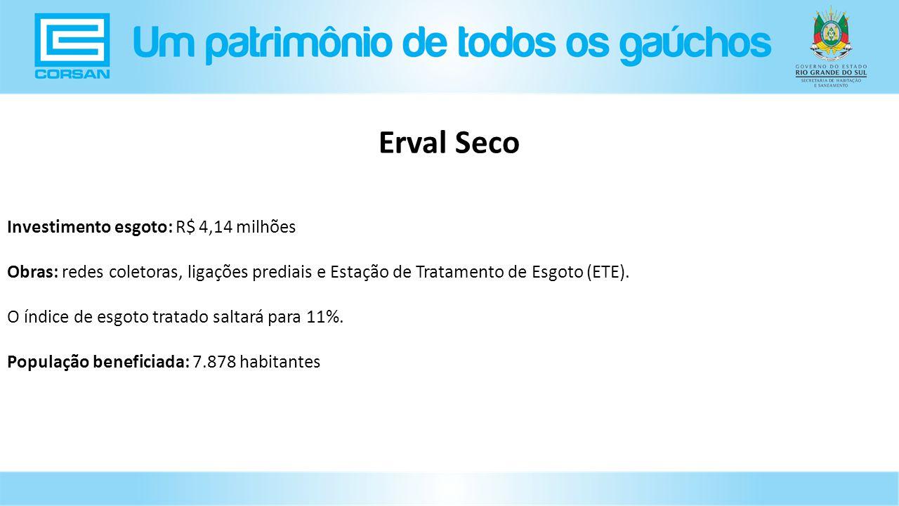 Erval Seco Investimento esgoto: R$ 4,14 milhões