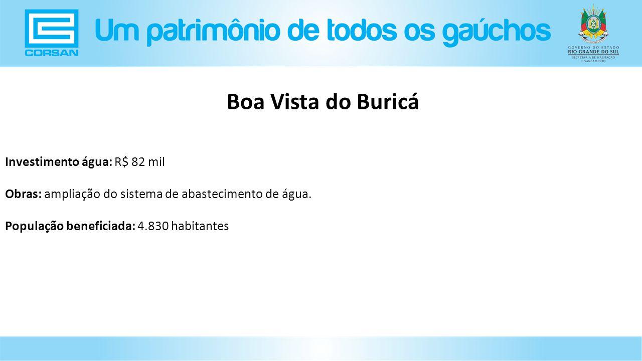 Boa Vista do Buricá Investimento água: R$ 82 mil