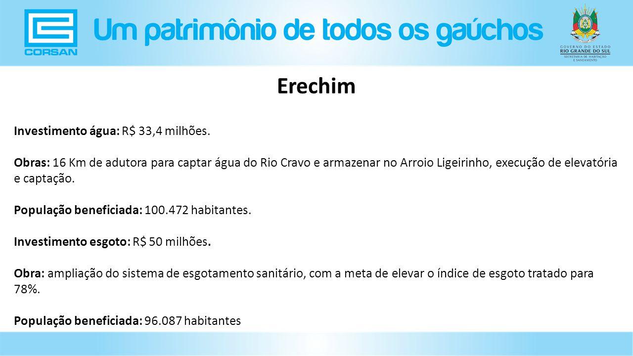 Erechim Investimento água: R$ 33,4 milhões.