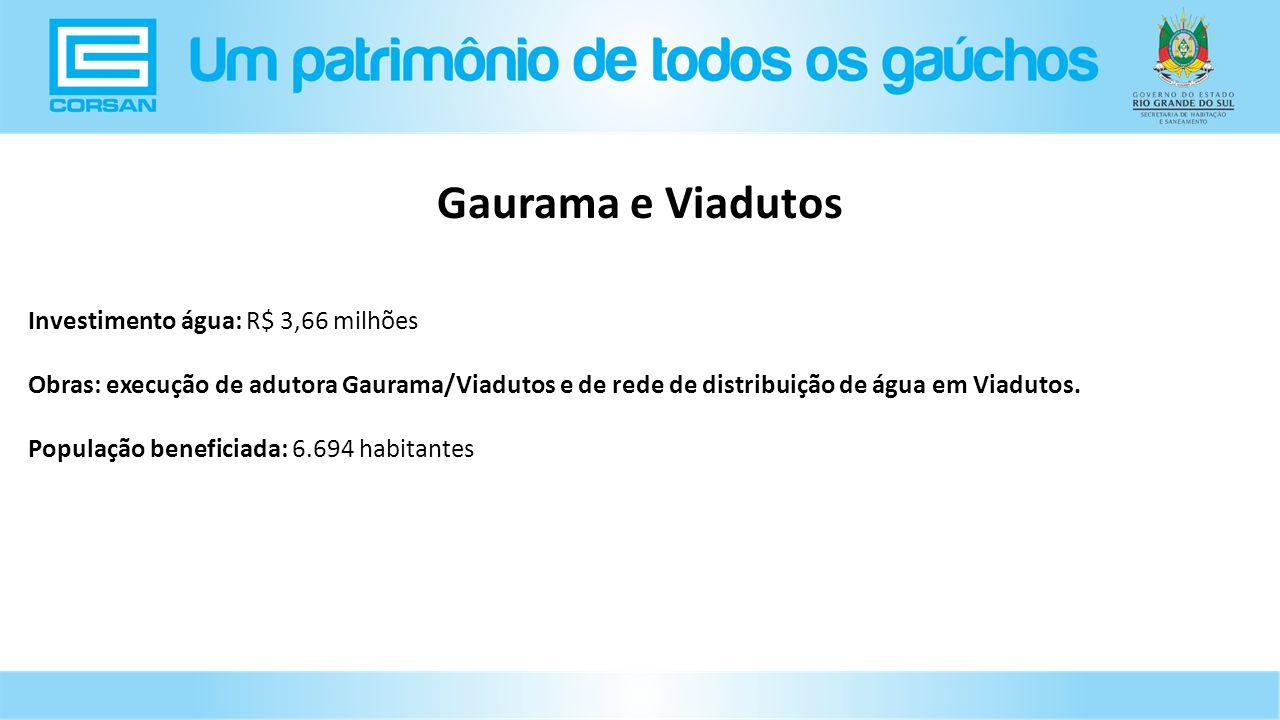 Gaurama e Viadutos Investimento água: R$ 3,66 milhões