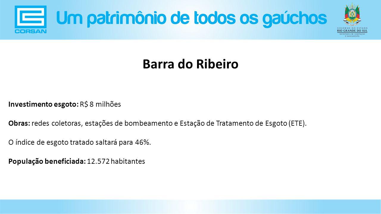 Barra do Ribeiro Investimento esgoto: R$ 8 milhões