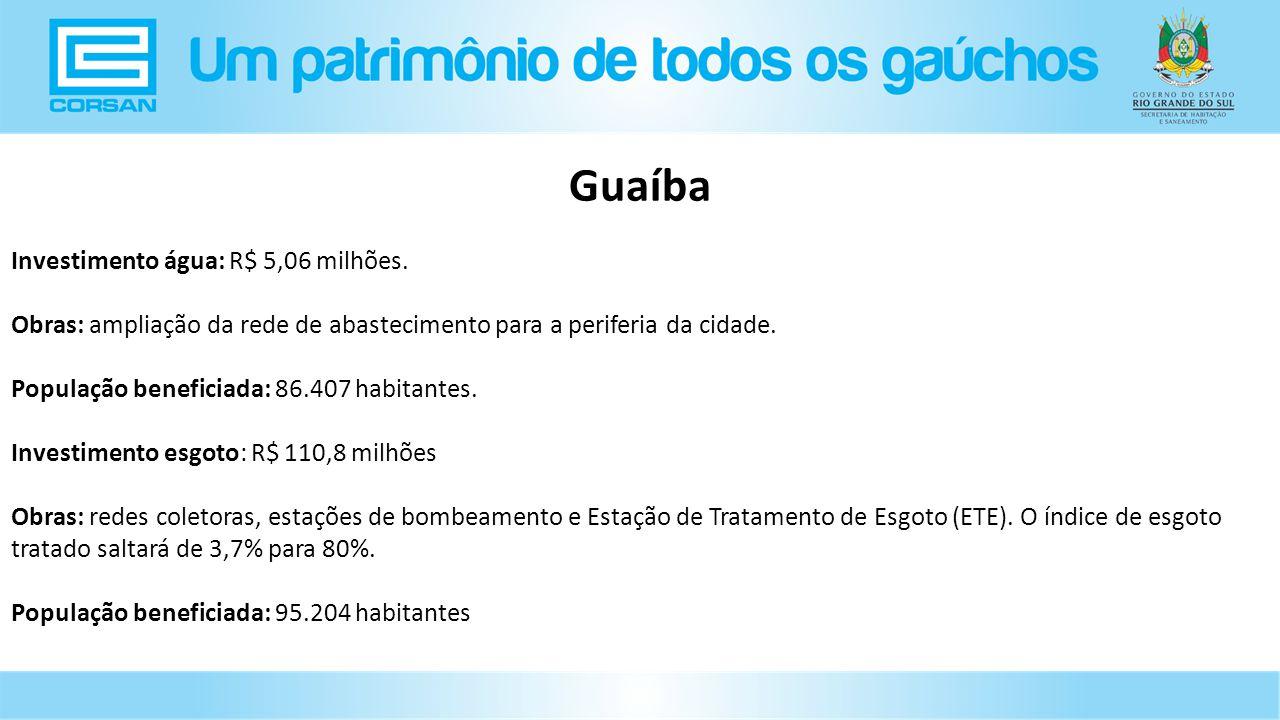 Guaíba Investimento água: R$ 5,06 milhões.