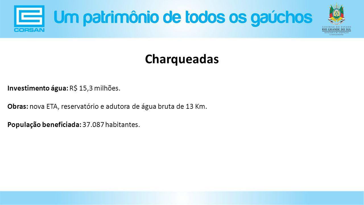 Charqueadas Investimento água: R$ 15,3 milhões.