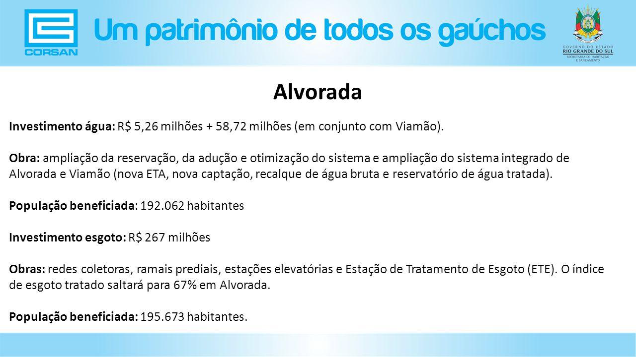 Alvorada Investimento água: R$ 5,26 milhões + 58,72 milhões (em conjunto com Viamão).