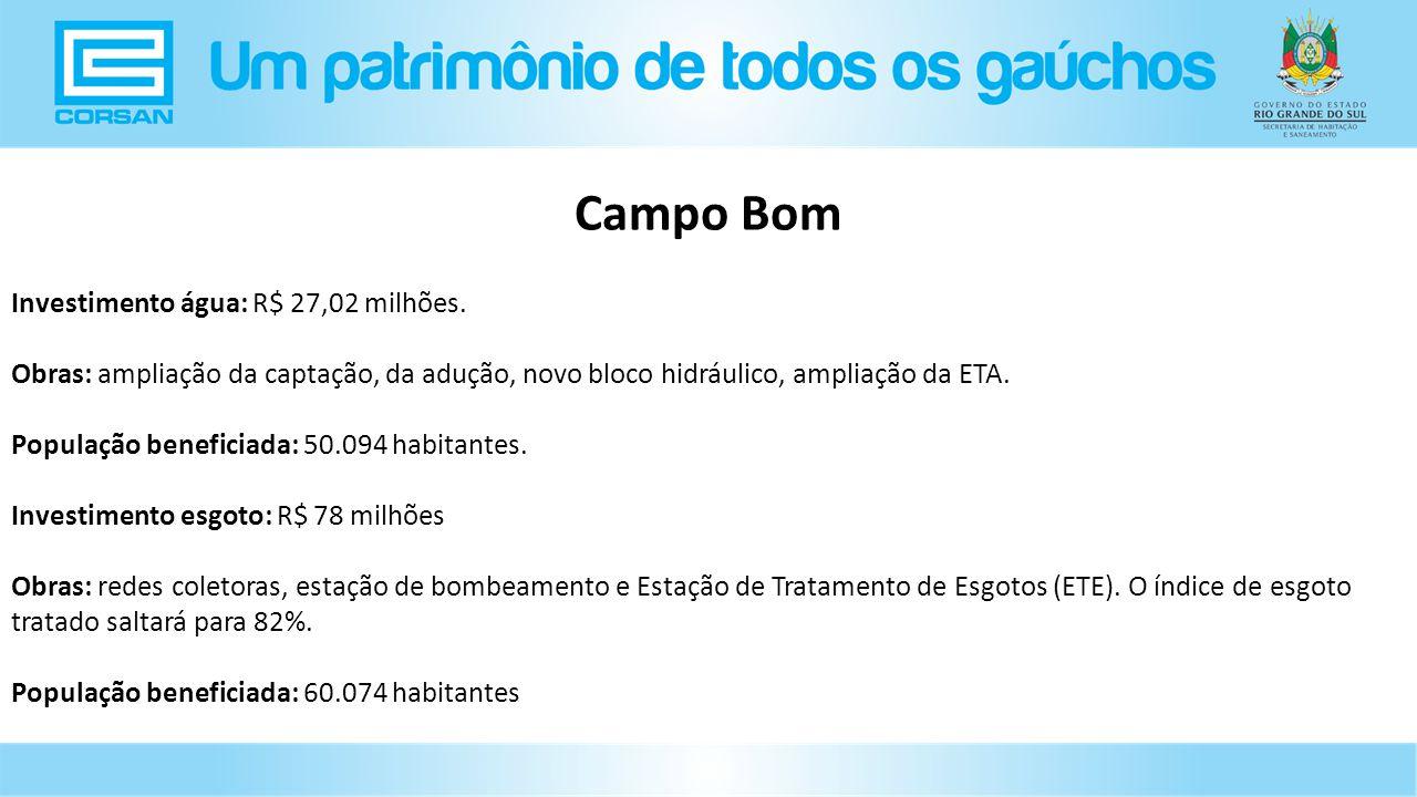 Campo Bom Investimento água: R$ 27,02 milhões.