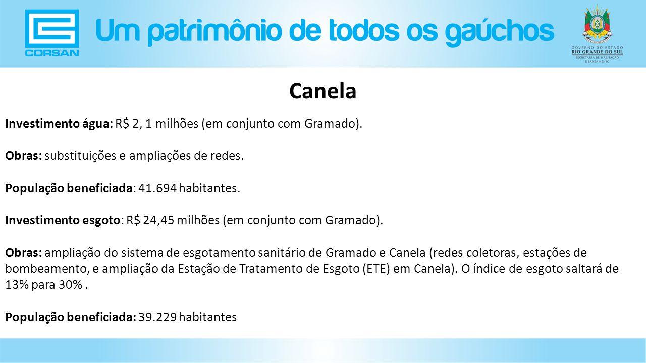 Canela Investimento água: R$ 2, 1 milhões (em conjunto com Gramado).