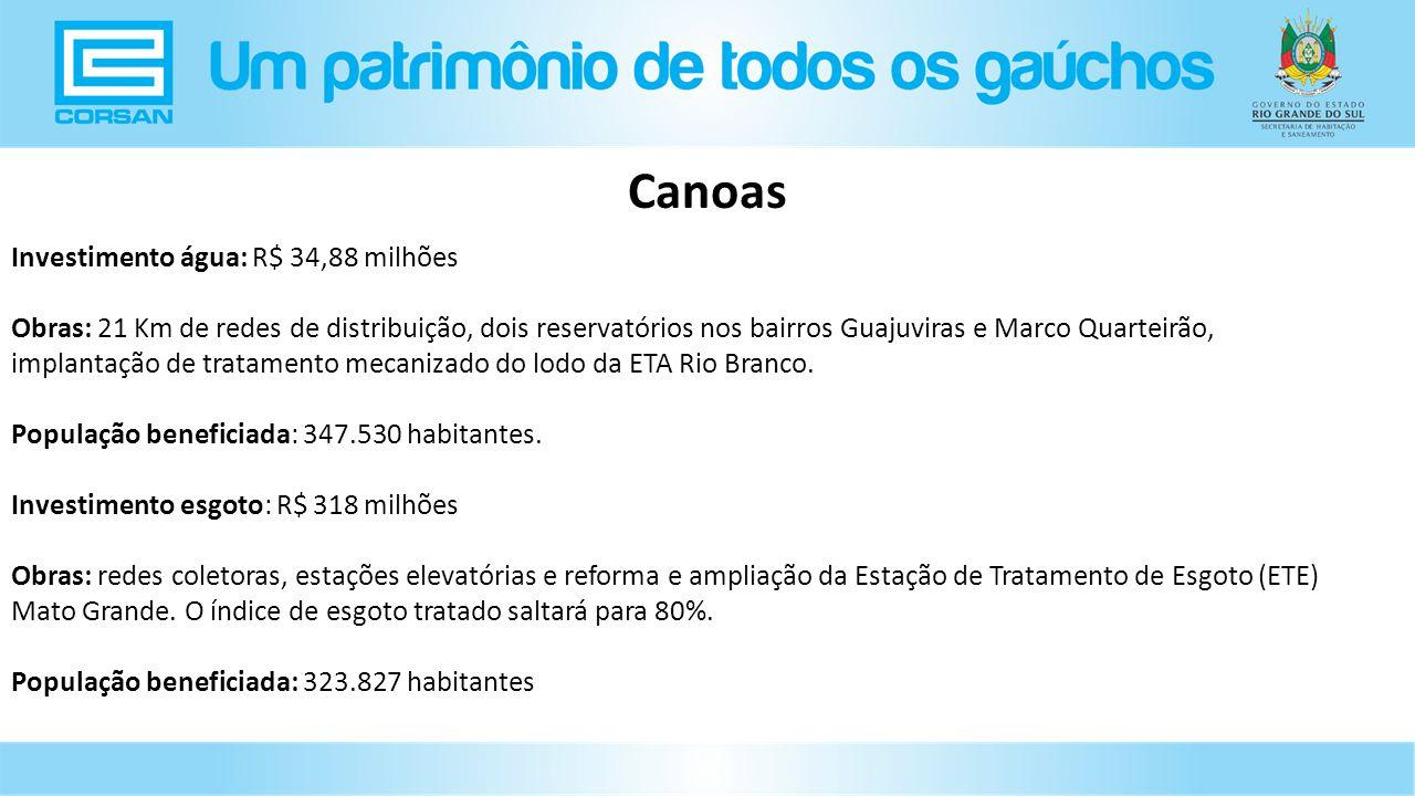 Canoas Investimento água: R$ 34,88 milhões