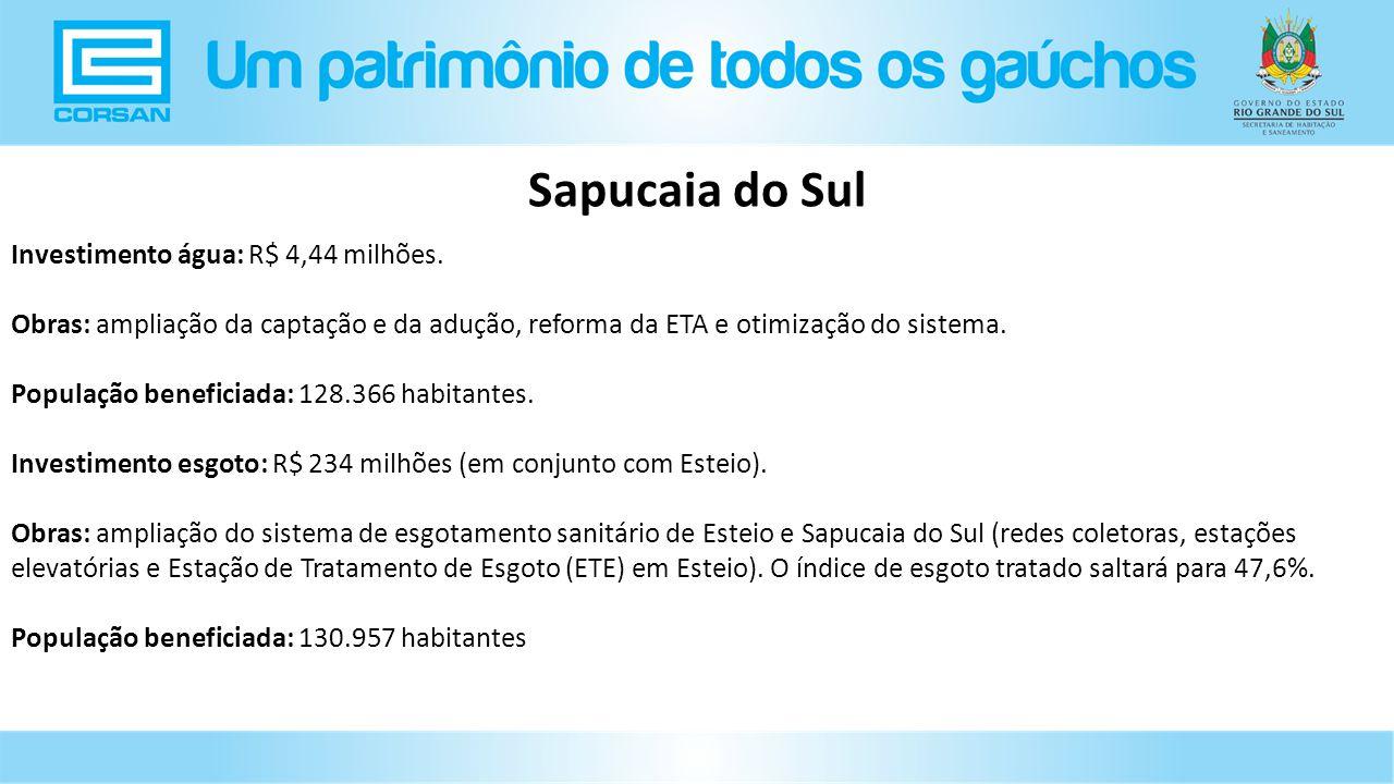 Sapucaia do Sul Investimento água: R$ 4,44 milhões.