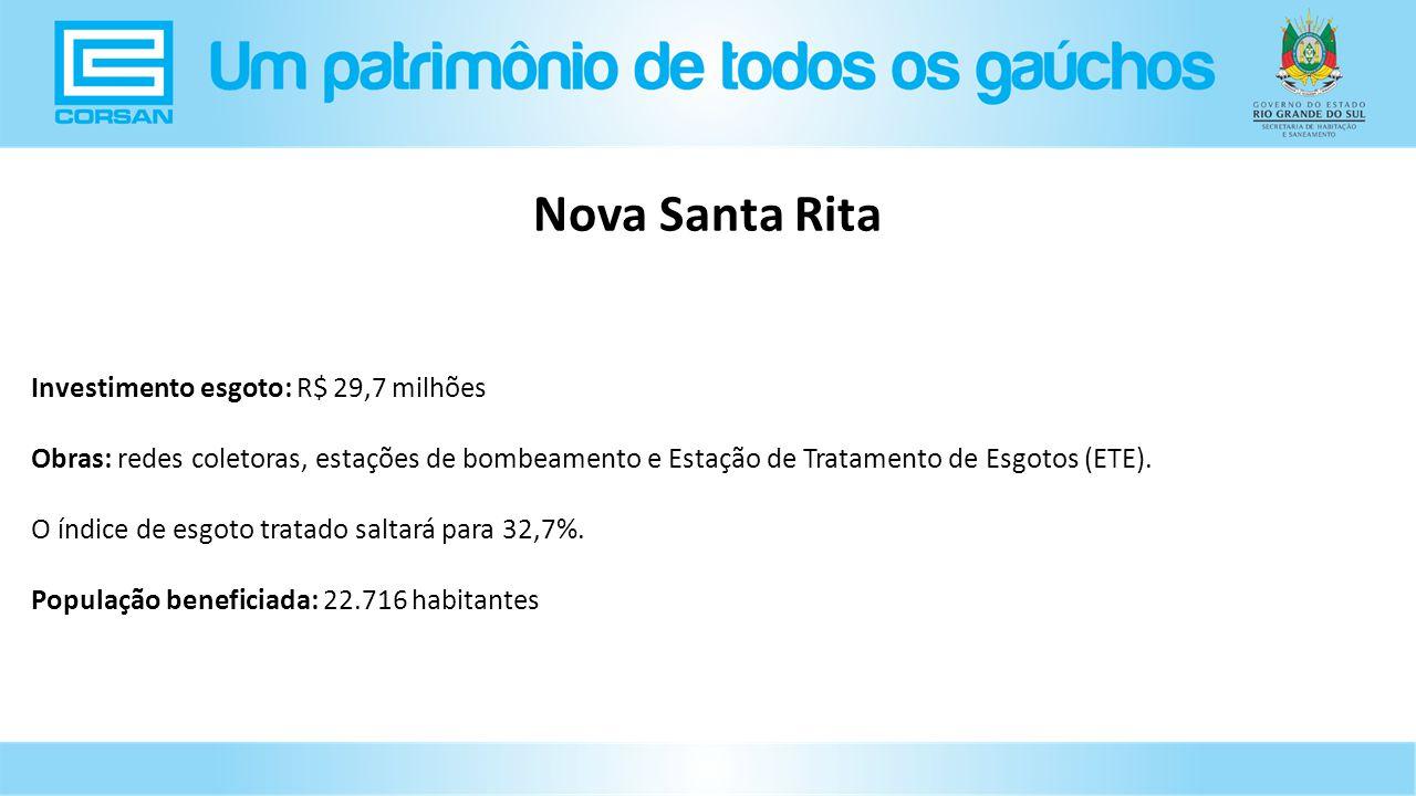 Nova Santa Rita Investimento esgoto: R$ 29,7 milhões