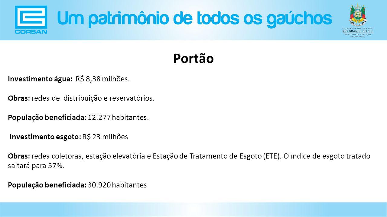 Portão Investimento água: R$ 8,38 milhões.