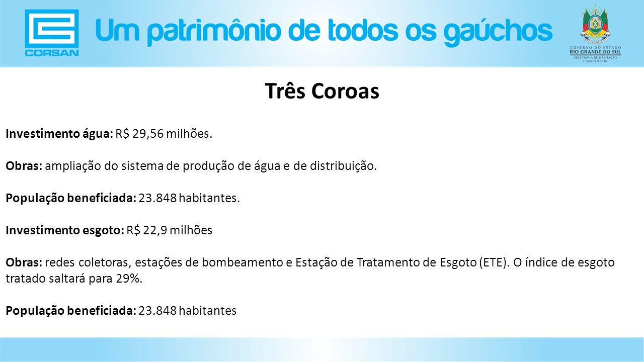 Três Coroas Investimento água: R$ 29,56 milhões.