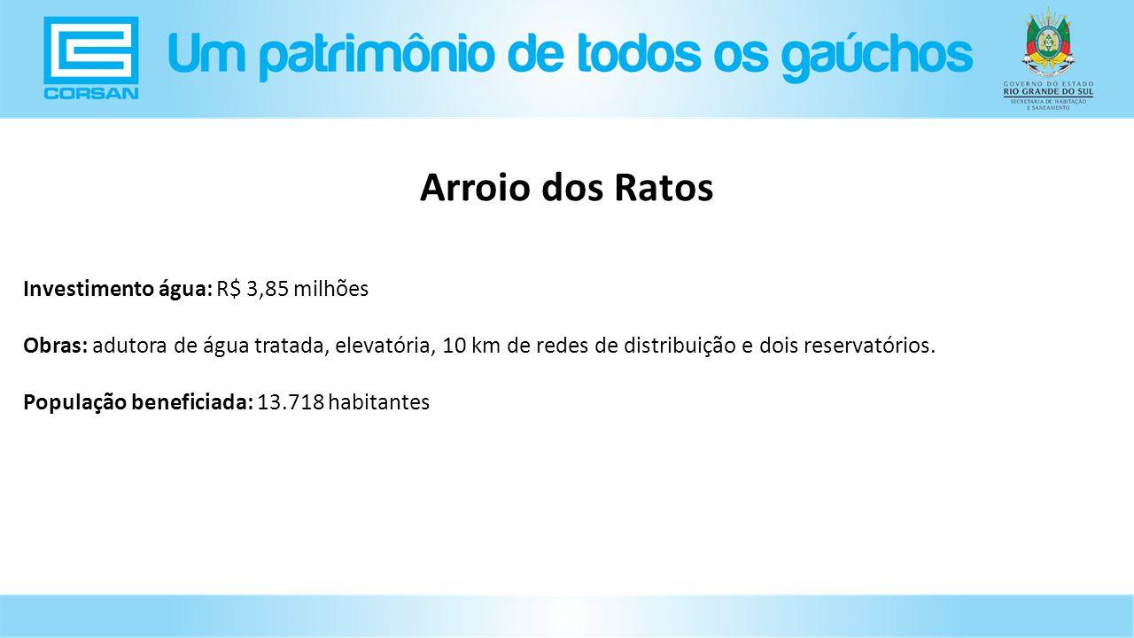 Arroio dos Ratos Investimento água: R$ 3,85 milhões