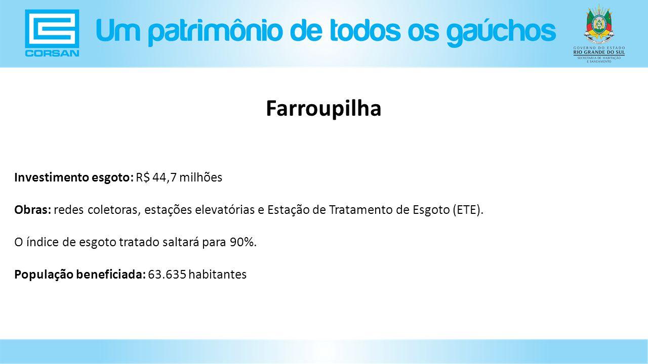 Farroupilha Investimento esgoto: R$ 44,7 milhões