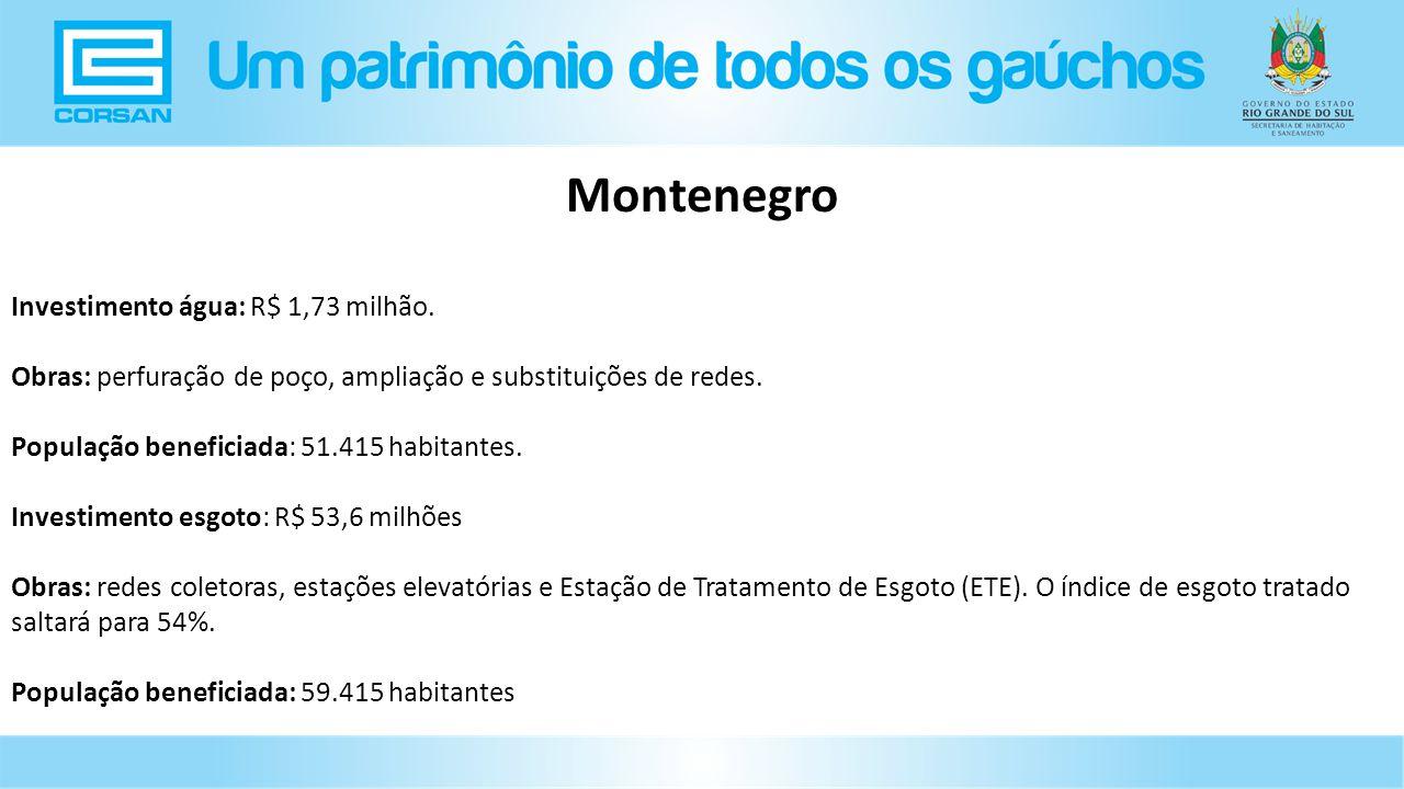 Montenegro Investimento água: R$ 1,73 milhão.