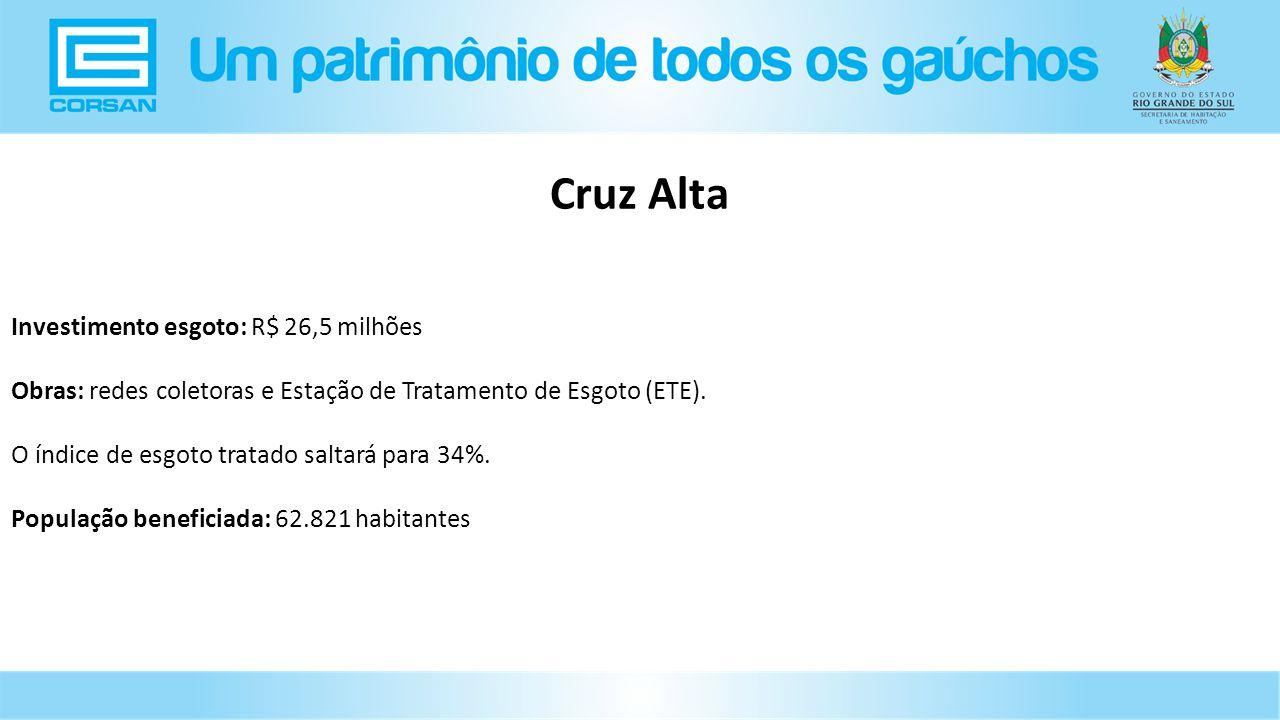 Cruz Alta Investimento esgoto: R$ 26,5 milhões